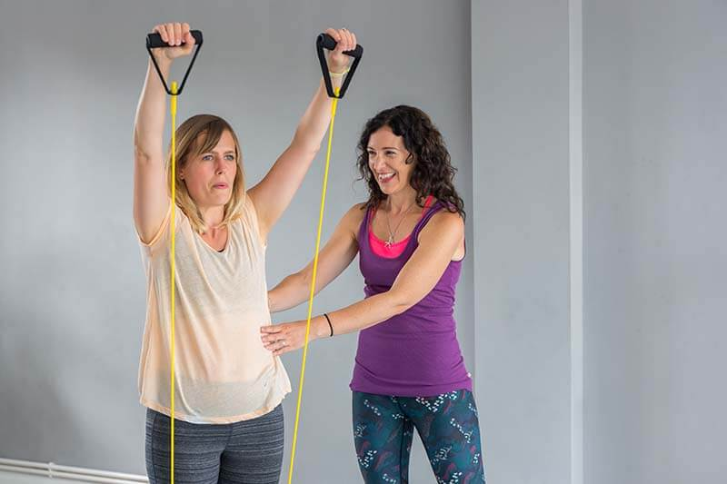 fitness class with resistance bands